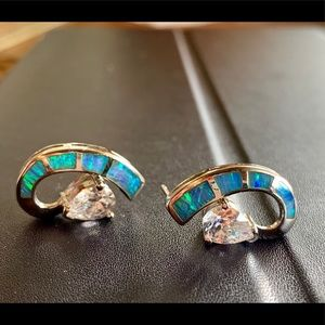 Sterling opal crescent and cubic zirconia earrings